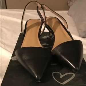Hedy leather sling back kitten heels